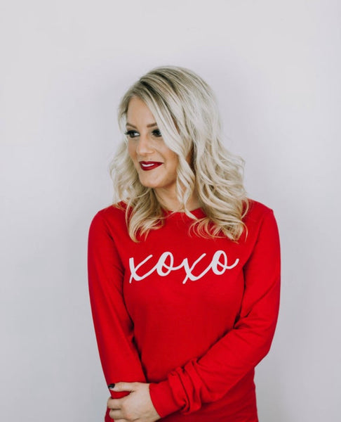 XOXO Long Sleeve Tee- Valentine's Day Shirt- V Day- Red