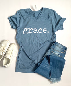 Grace - Tshirt -Steel Blue - Short Sleeve