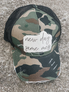 New Day Same Mess-Camo Trucker Hat-Vintage Black-Distressed