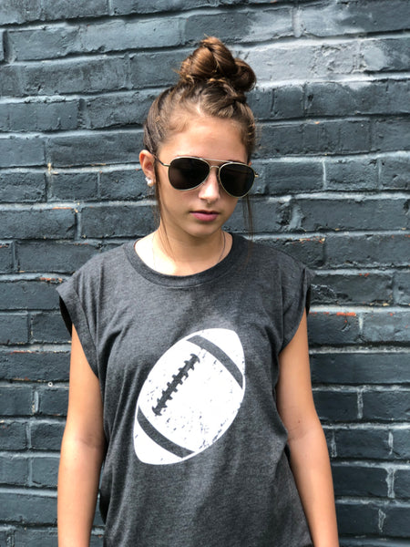 Football-Heather Gray-Tank-Graphic-Apparel-Clothing-Mens-Womens-Unisex fit-Hi-lo-Muscle Tee-Football Season-Tailgating-Football-Sports