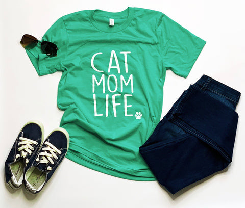 Cat Mom Life - Sea Green Crew Neck Tshirt