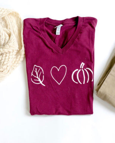 Love Fall-Leaf Heart Pumpkin-V Neck Tshirt