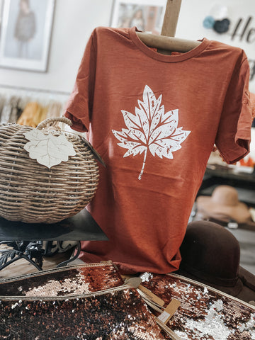Distressed Leaf - Fall Tee - Autumn Tshirt - Tee - Clay - Rust
