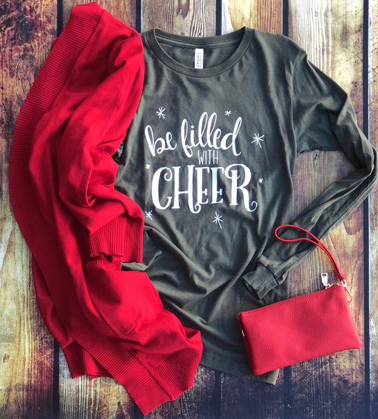 Be Filled with Cheer-Green-Long Sleeve Tee-Christmas Tee