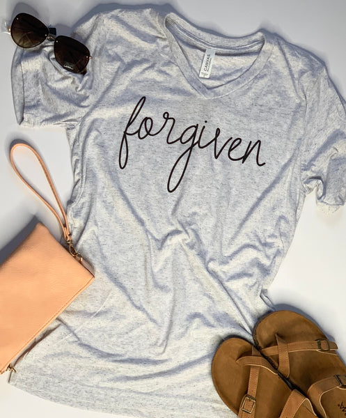 Forgiven- Tshirt - White with Gray Fleck - v Neck - Easter