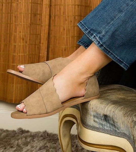 Tan Peep Toe Nubuck Slip On - Asymmetrical