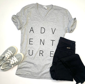 Adventure -V Neck Tshirt - Gray - Travel Tee