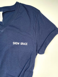 Show Grace - V Neck T-shirt - Navy