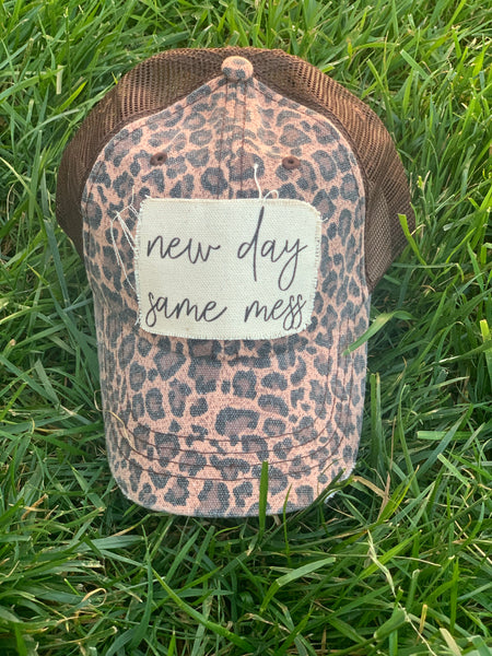 New Day Same Mess-Leopard Trucker Hat-Vintage Black-Distressed
