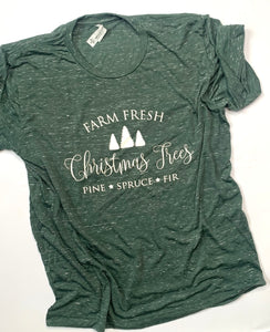Farm Fresh Christmas Trees-Short sleeve-Christmas Shirt-Marble Green