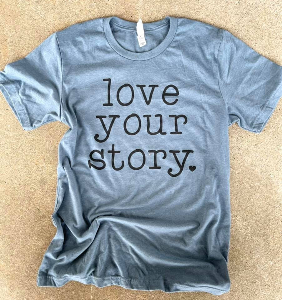 Blue Love Your Story- Crew Neck Tshirt -Typewriter