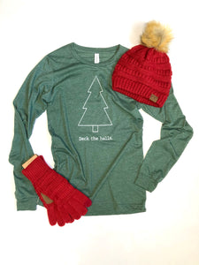 Deck the Halls- Long sleeve shirt - Christmas -Green