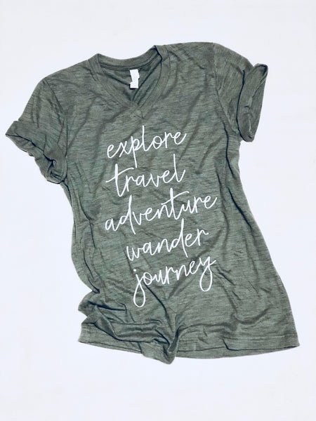 Explore-Adventure-Vneck-Tshirt-Graphic Tee-Apparel-Womens-Inspirational-Green-Olive-Bella Canvas-Screen Printed-Travel-Explore-Adventure-Wander-Journey