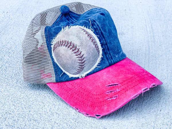 Baseball - Trucker Hat - Vintage - No Rhinestones -Blue and Red