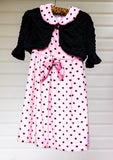 Double Cuddly Duo of Black Dot Pink Velour - Size 6