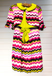 Designer Jersey Knit in Fuchsia/Black/Green Zigzag Brilliance - Size 6