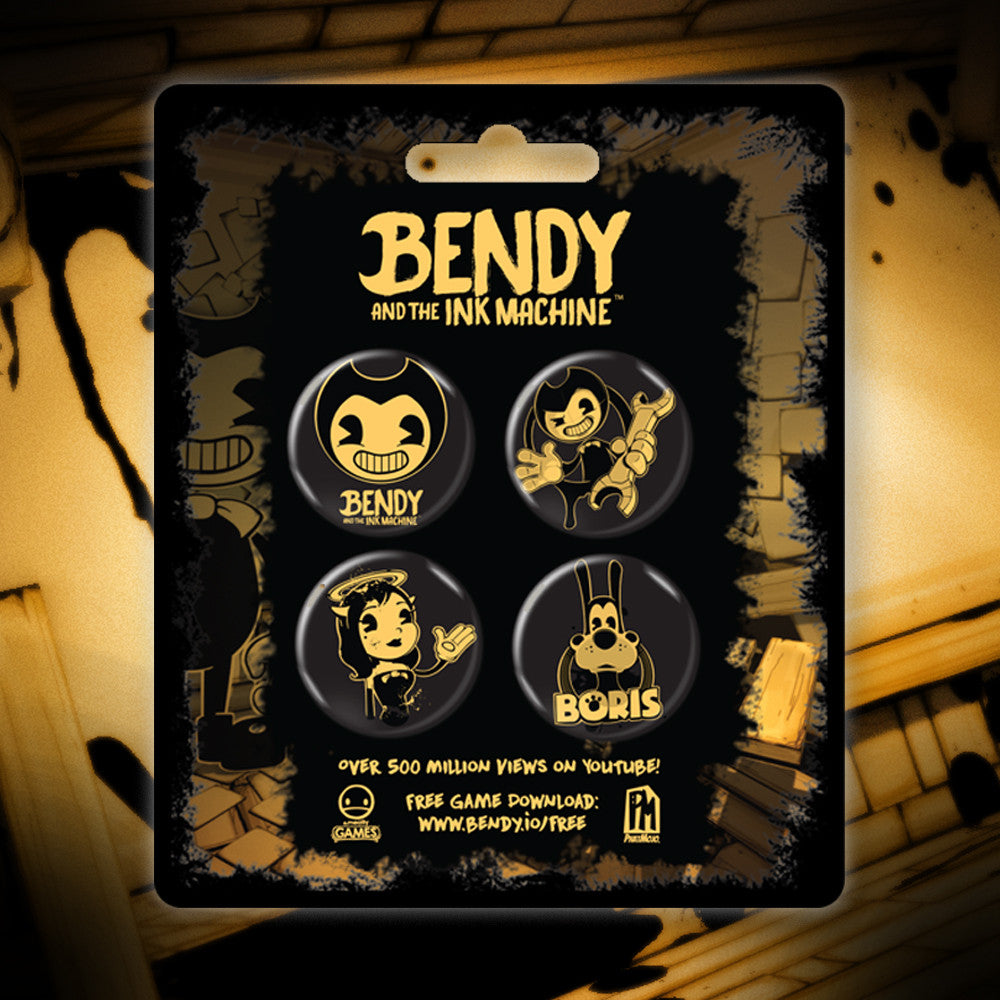 Bendy And The Gang Buttons 4 Pack Bendy And The Ink