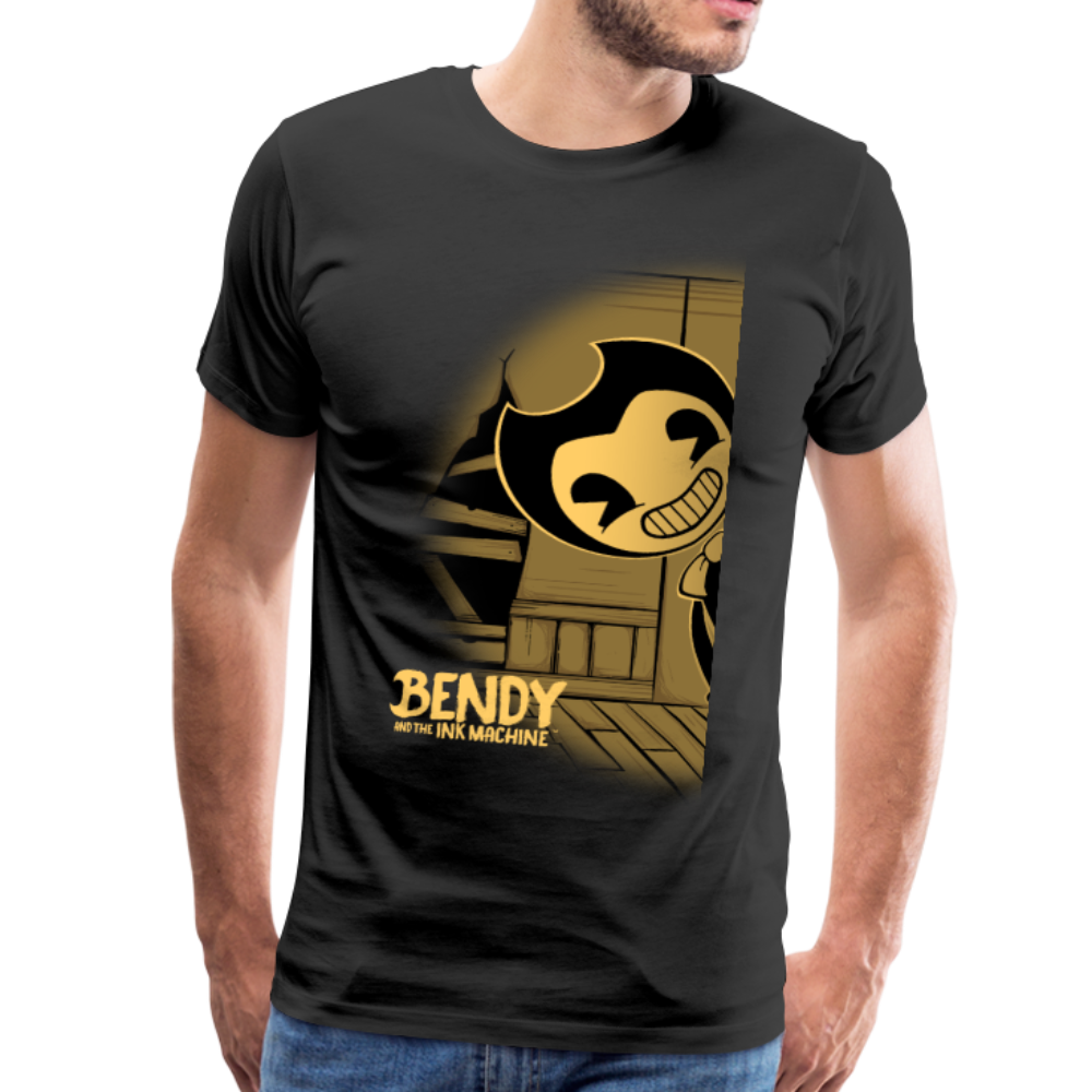 Peeking Bendy (Mens) T-Shirt - black
