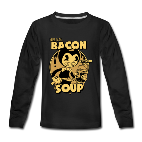 Bacon Soup Long Sleeve T-Shirt (Youth) - black