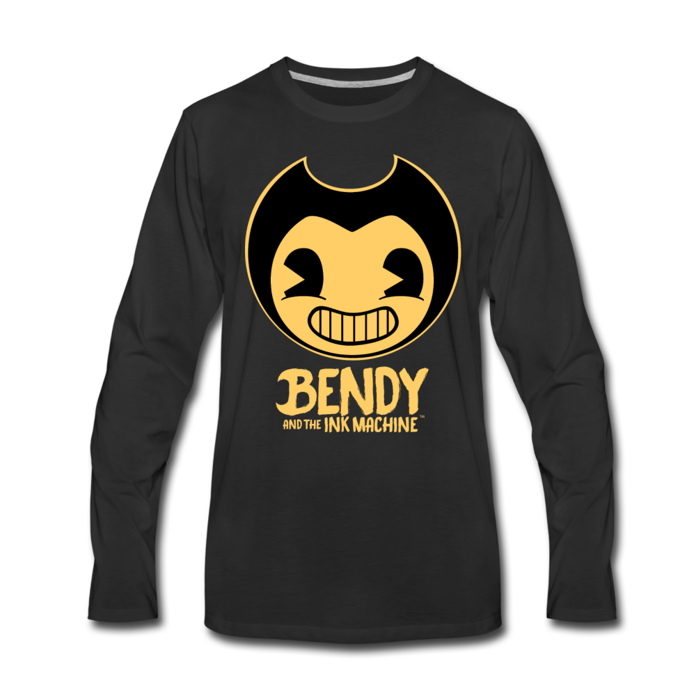 Bendy and the Ink Machine Logo Long Sleeve T-Shirt (Mens) - black