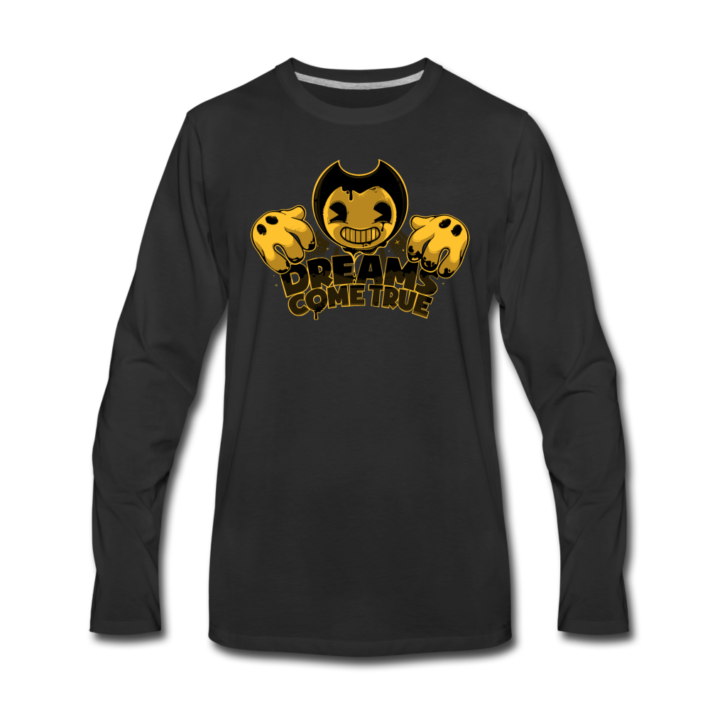 Bendy Dreams Come True Long Sleeve T-Shirt (Mens) - black