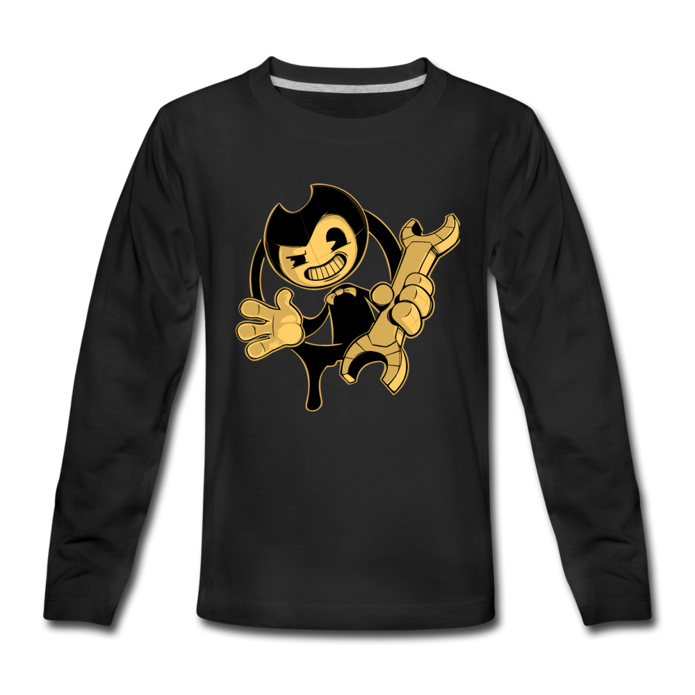 Bendy Wrench Long Sleeve T-Shirt (Youth) - black