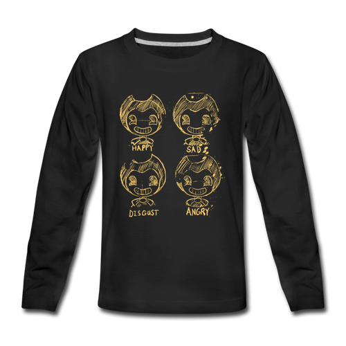Bendy Moods Long Sleeve T-Shirt (Youth) - black