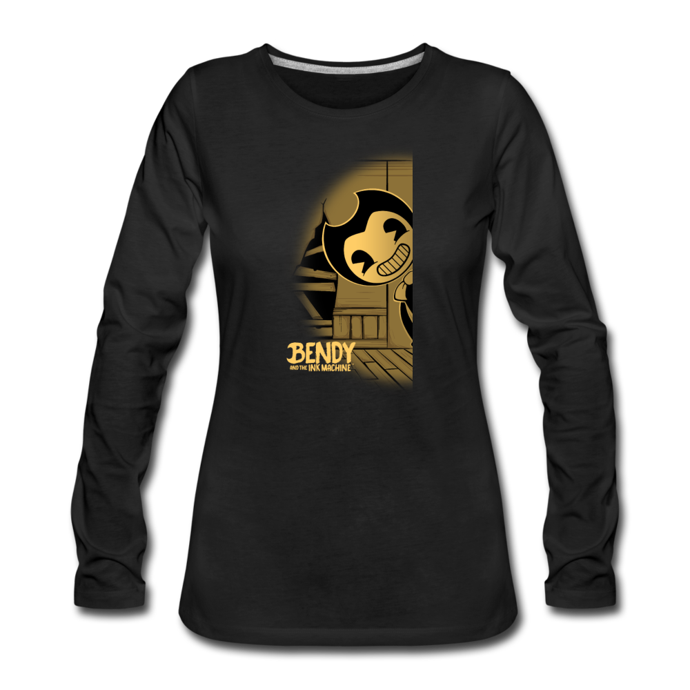 Peeking Bendy Long Sleeve T-Shirt (Youth) - black
