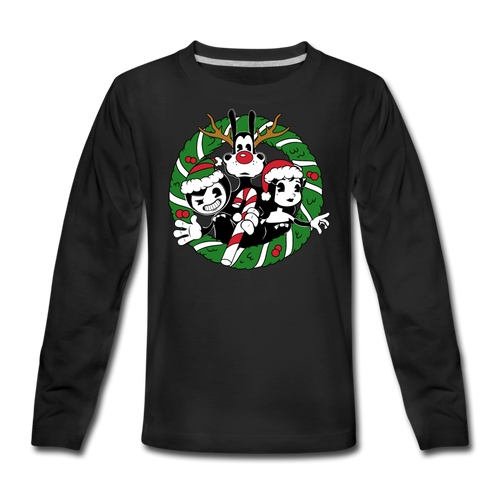 Bendy Wreath Long-Sleeve T-Shirt - black