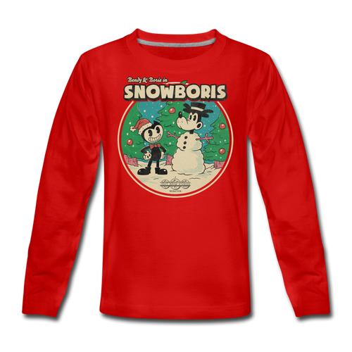 Bendy & Boris in SNOWBORIS Long-Sleeve T-Shirt [Exclusive, Limited Edition] - red