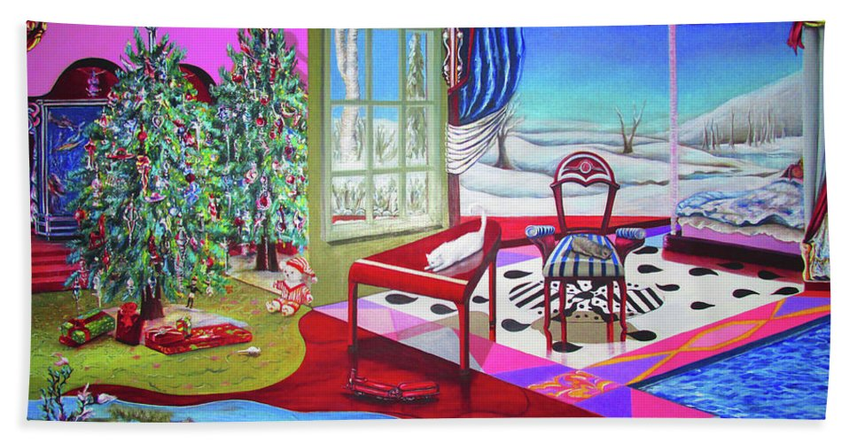 Christmas Painting - Beach Towel - Sharon Tatem Fashion