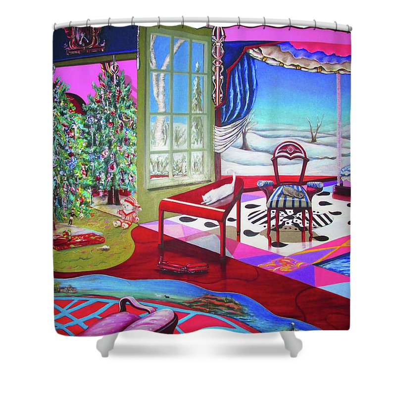 Christmas Painting - Shower Curtain