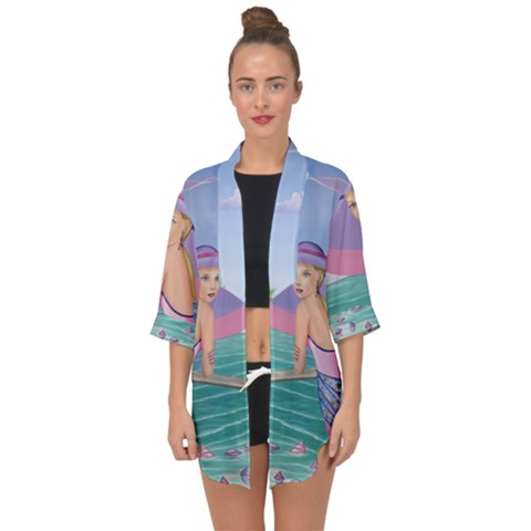 Palm Beach Purple Open Front Chiffon Kimono For Over The Dress - Sharon Tatem Fashion