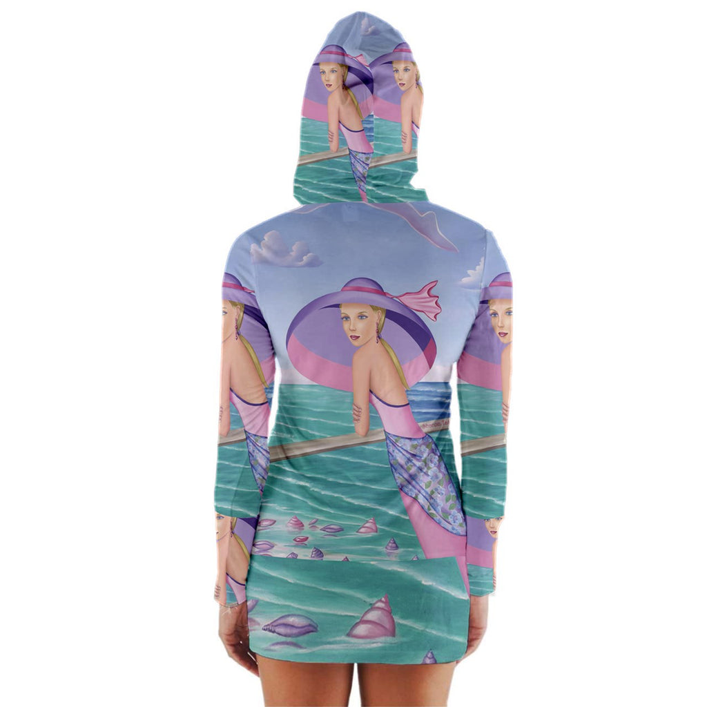 Mini Dress Palm Beach Purple Long Sleeve Hooded T-shirt