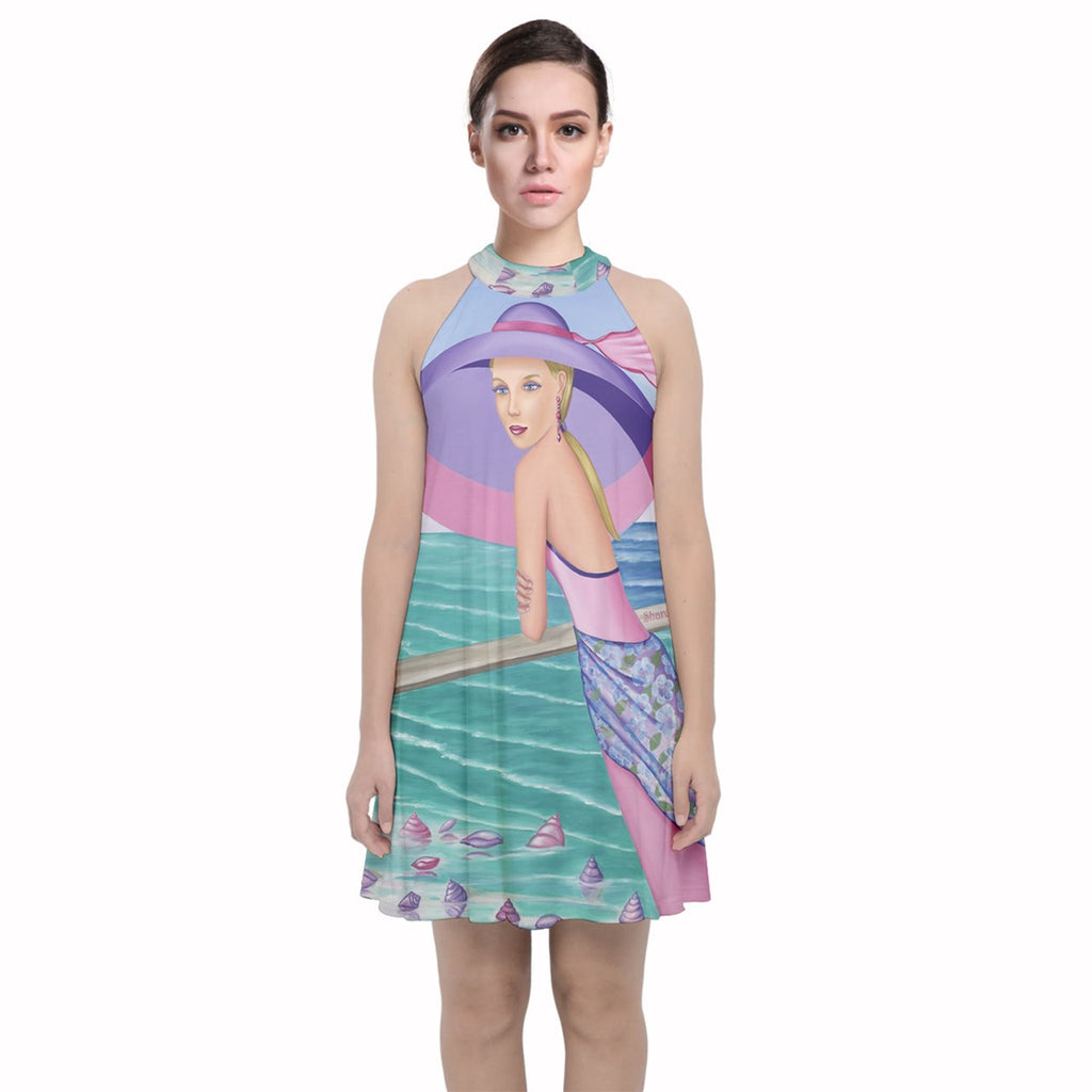 Palm Beach Purple Velvet Halter Neckline Dress