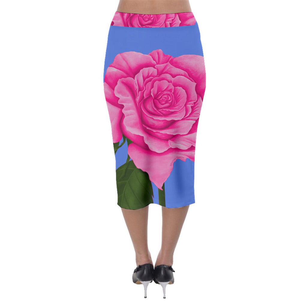 Roses Collections Midi Pencil Skirt