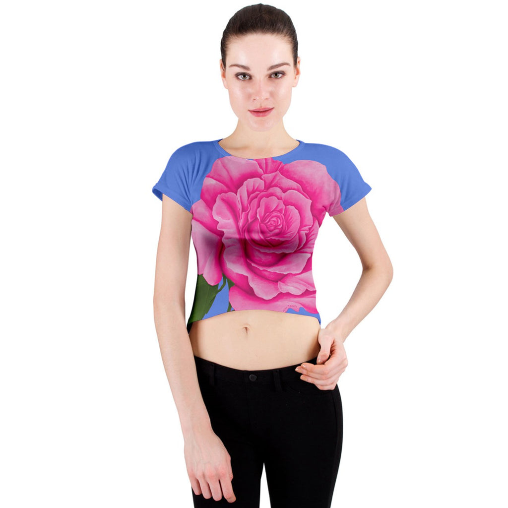 Roses Collections Crew Neck Crop Top