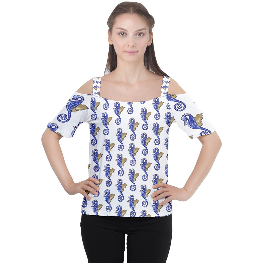 Seahorses Cutout Shoulder Tee