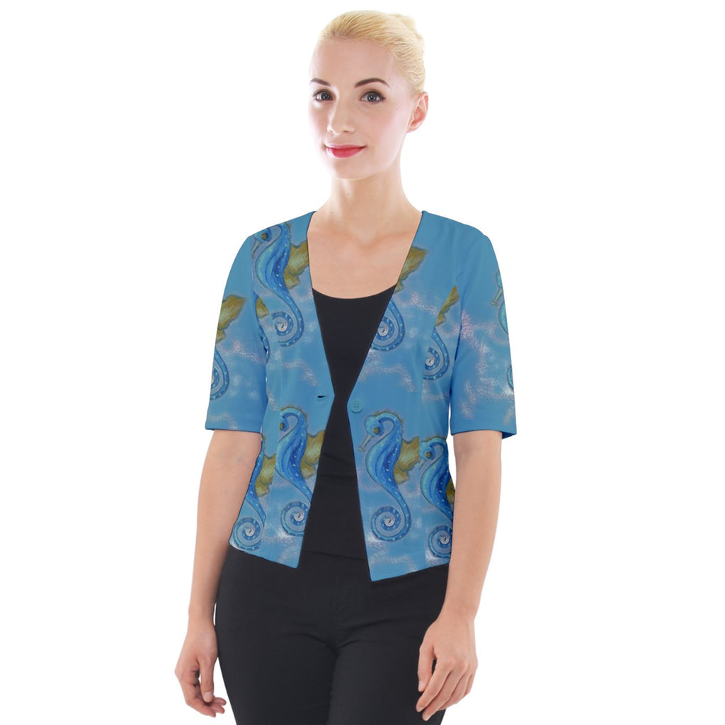 Seahorse Blue Cropped Button Cardigan