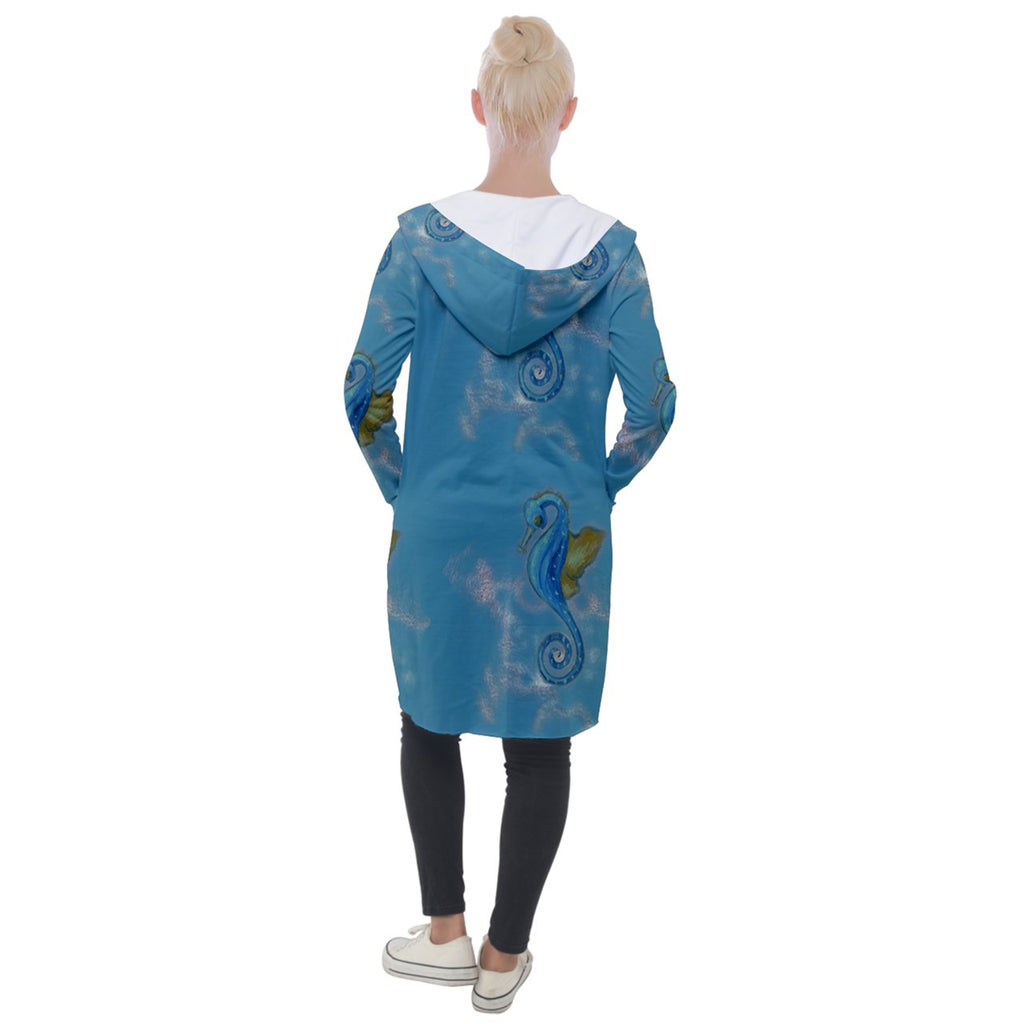 Blue Seahorses Hooded Pocket Cardigan