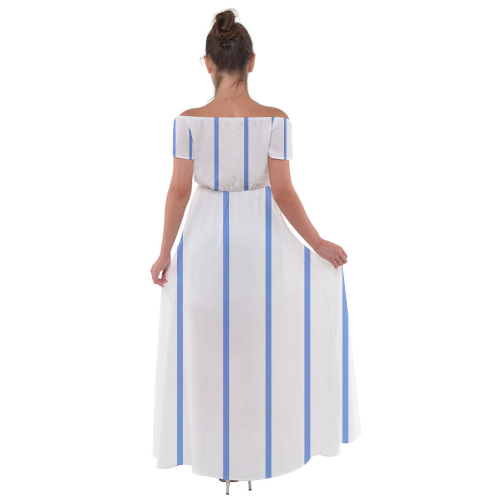 blue stripes Off Shoulder Open Front Chiffon Dress - Sharon Tatem Fashion