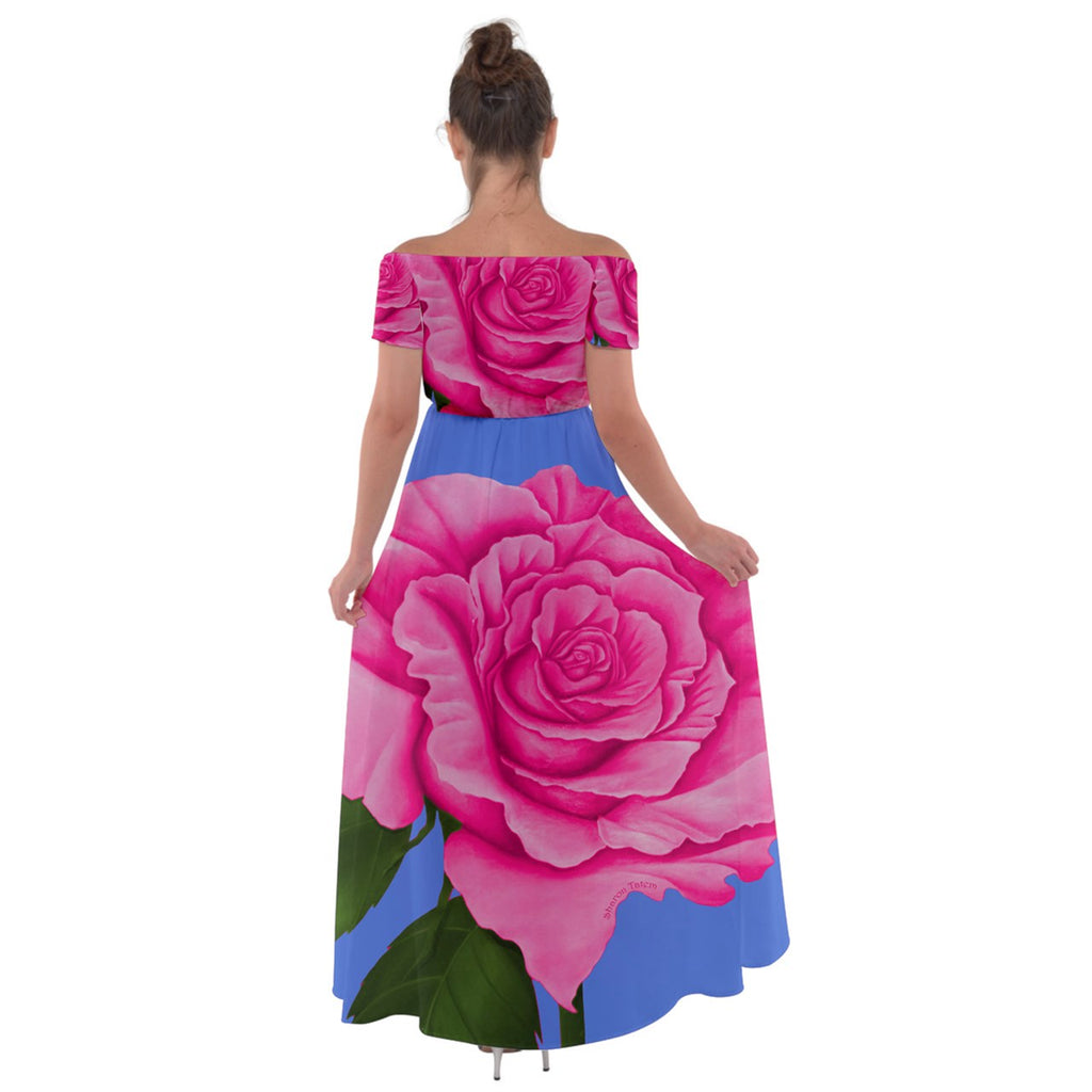Pink Blue Rose Off Shoulder Open Front Chiffon Dress - Sharon Tatem Fashion
