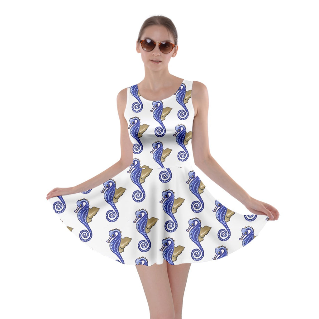 Blue White Seahorse Skater Dress