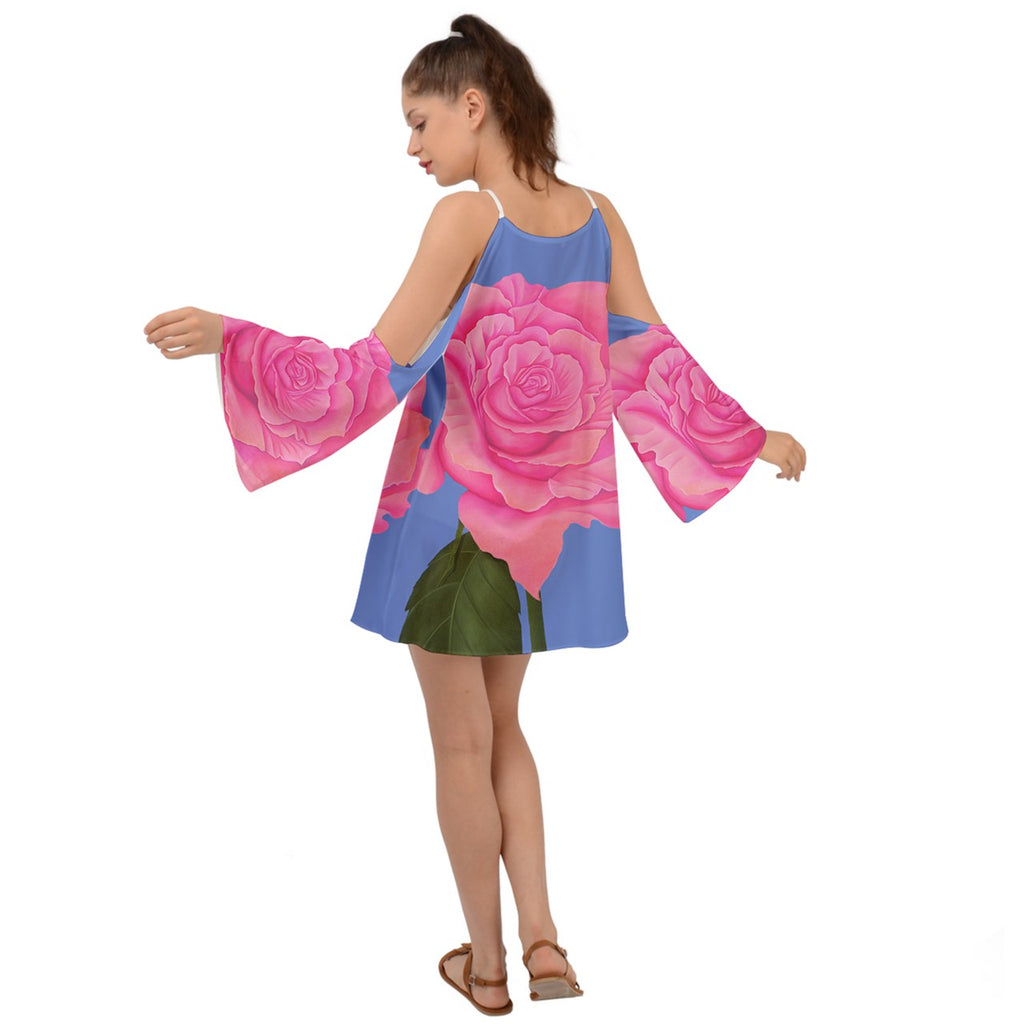 Pink Blue Rose Kimono Sleeves Womens Boho Dress