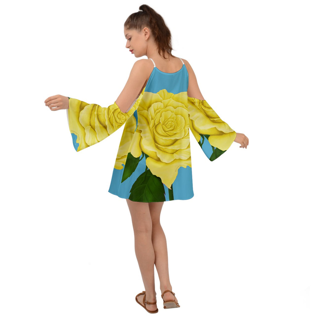 Yellow Aqua Rose Kimono Sleeves Womens Boho Dress