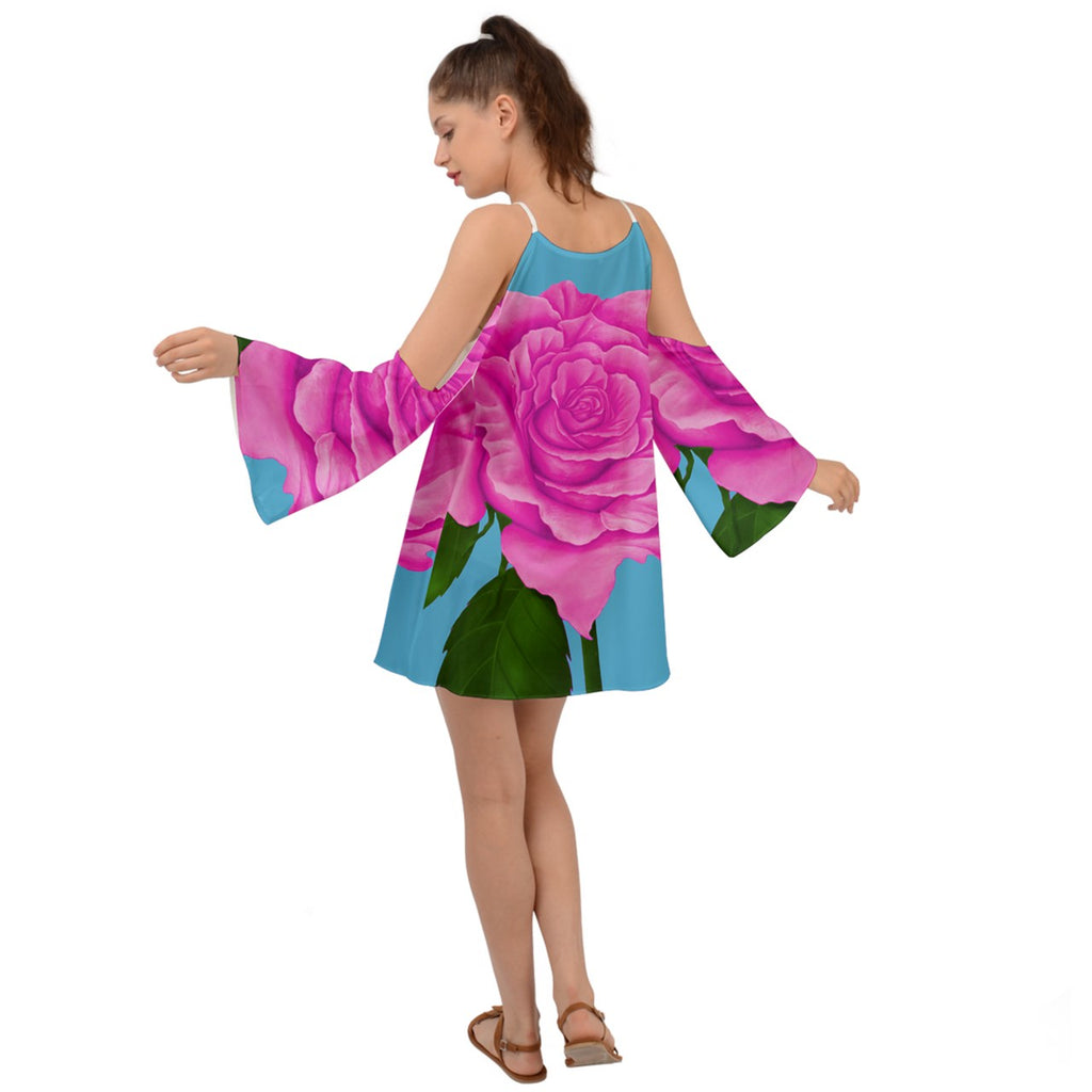 Pink Aqua Rose Kimono Sleeves Womens Boho Dress