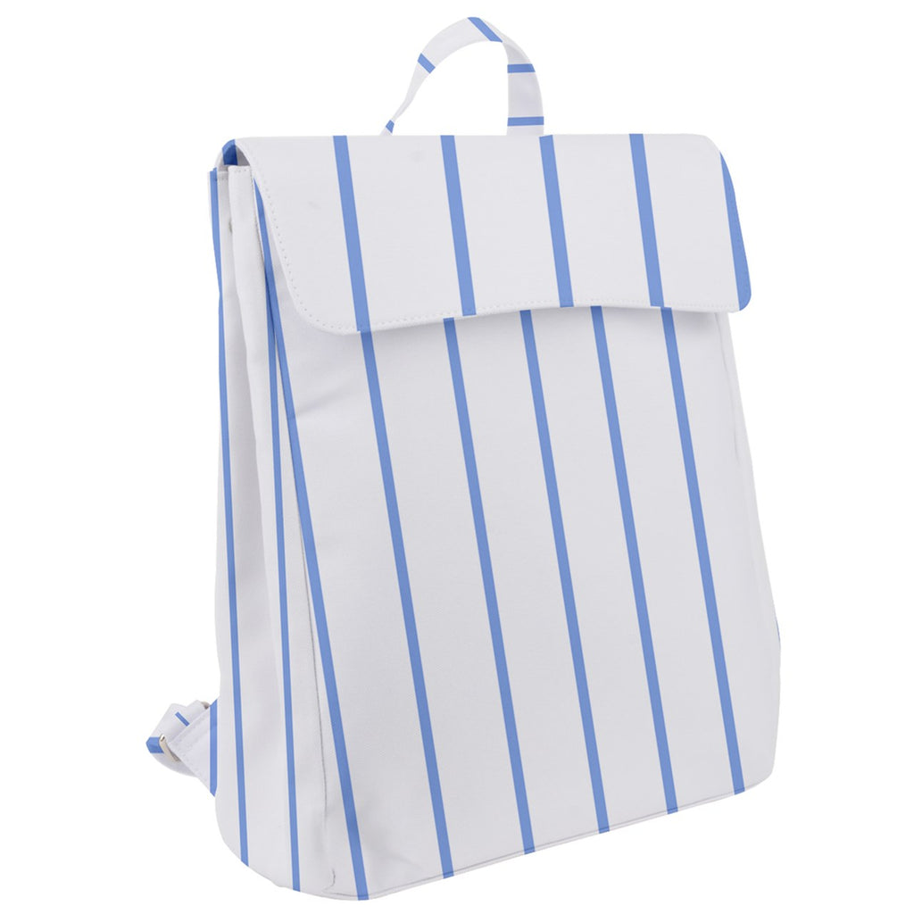 Blue Stripe Flap Top Backpack