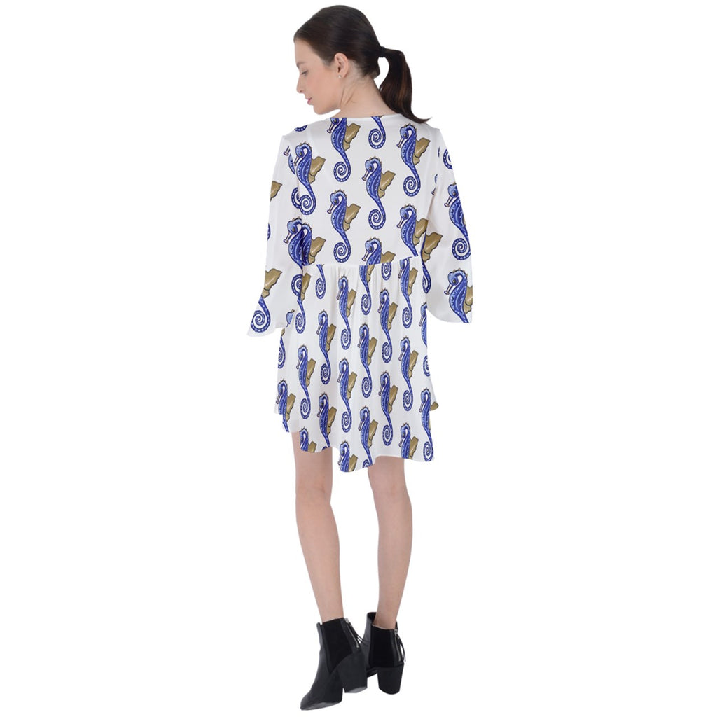 Boho Mini Dress Seahorse Fashion V-Neck Flare Sleeve Mini Dress
