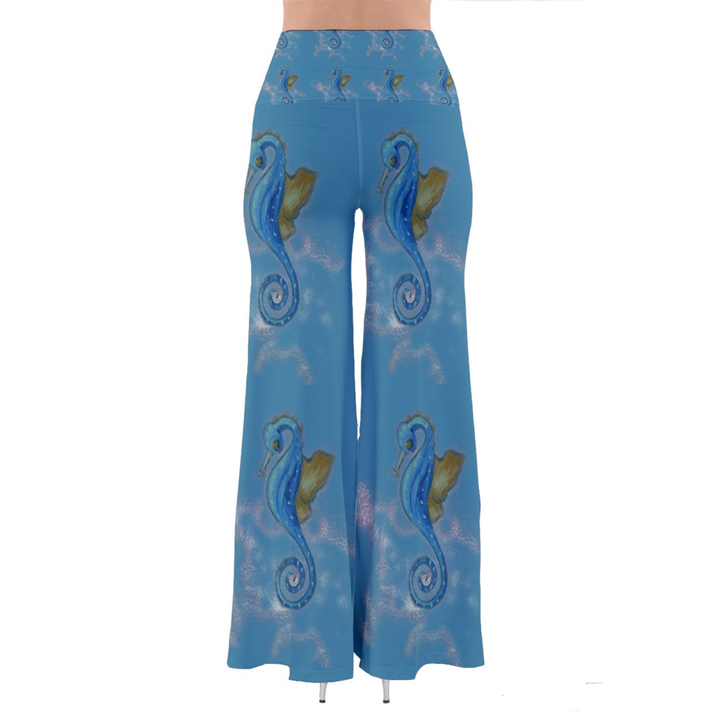 Blue Seahorse | Palazzo Pants | Sharon Tatem Fashion