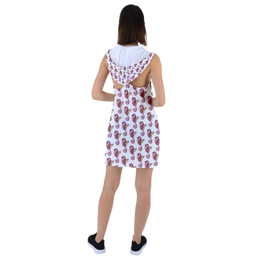 Red Seahorse Racer Back Hoodie Dress
